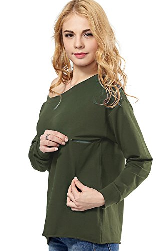 Womens Maternity Nursing Top Sweatshirt Long Sleeve Off Shoulder Zipper Pullver...