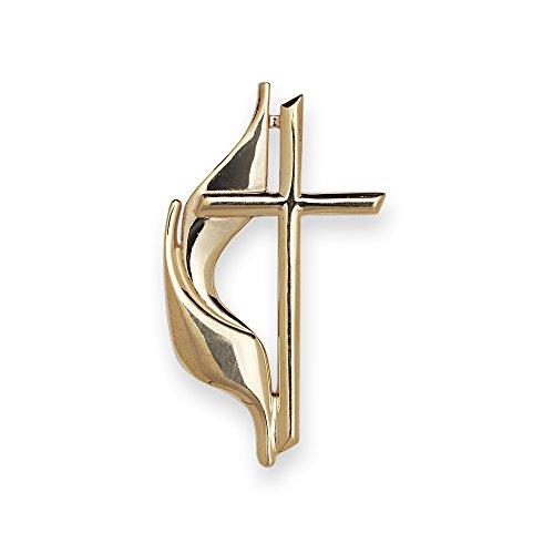 JewelryWeb Solid 10K Yellow Gold Large Methodist Cross Lapel Pin for Men -