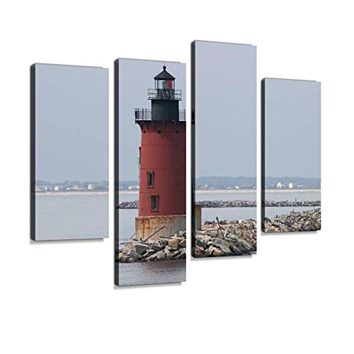Cape henlopen Lighthouse Canvas Wall Art Hanging Paintings Modern Artwork Abstract Picture Prints Home Decoration Gift Unique Designed Framed 4 Panel