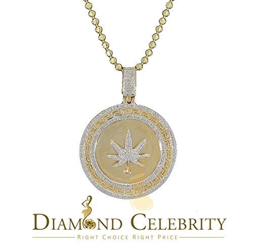 10K Yellow Gold Finish Real 0.33CT Diamond Marjuana Leaf Silver - Marjuana Leaf