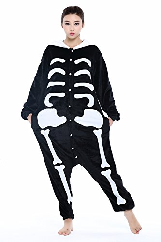 (Unisex Adult Animal Cosplay Onesie Flannel One Piece Pajamas Sleepwear(Skeleton,)