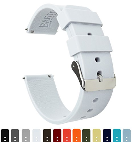 BARTON Quick Release - Choose Color & Width (16mm, 18mm, 20mm, 22mm) - White 18mm Watch Band Strap