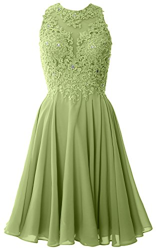Neck Thigh Length Lace (MACloth Women High Neck Lace Cocktail Dress Short Prom Homecoming Formal Gown (4, Clover))