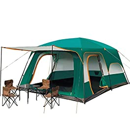 YGY Camping Tent 2 Room Large Space for 6/8/10-12 People, Weatherproof,for Parties,Picnic, Outdoors Travel,Camping…