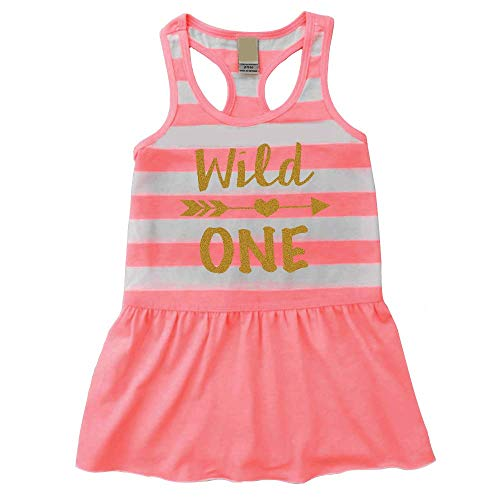 (Girl First Birthday Outfit, Wild One Summer Tank Dress, 1st Birthday Girl (18 Months))