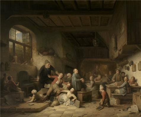 'Village School by Ferdinand de Braekeleer the Elder,1854' oil painting, 24x29 inch / 61x74 cm ,printed on high quality polyster Canvas ,this Imitations Art DecorativeCanvas Prints is perfectly suitalbe for Gym decoration and Home gallery art and Gifts (Best Stylus For Puzzle And Dragons)