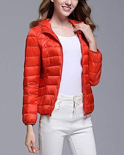 M pour orange et Veste orange légère capuche couleur à taille Zhrui légère ultra matelassée femme IUOZSwq