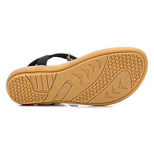 Pantoufles Shallow Sandales Pinch Sandals Fond Plat Occasionnels Et Bouche Black Aqua Lady wAqB0XxnAp
