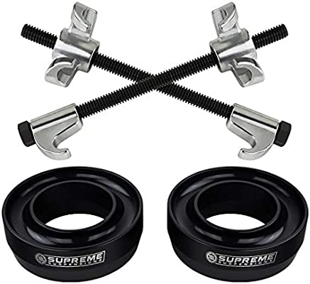 Black Coil Spring Compressor Tool 2WD Front Leveling Kit for 1999-2007 Chevrolet Silverado // GMC Sierra 1500 2 Front Lift Spring Spacers Supreme Suspensions