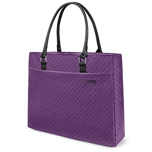 Ladies Laptop Case - DTBG Laptop Tote Bag, 15.6 Inch Women Shoulder Bag Nylon Briefcase Casual Handbag Laptop Case for 15-15.8 Inch Tablet/Ultra-Book/MacBook/Chromebook (Purple+Black Dot)