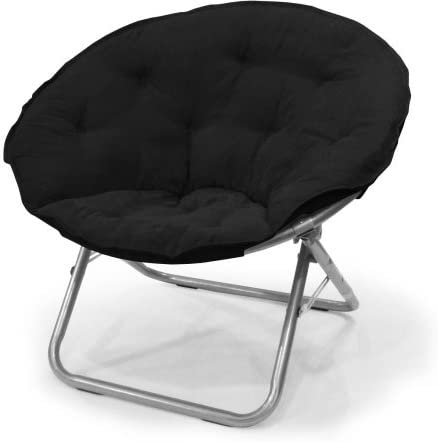 Comfortable Large Microsuede Saucer Chair, Black