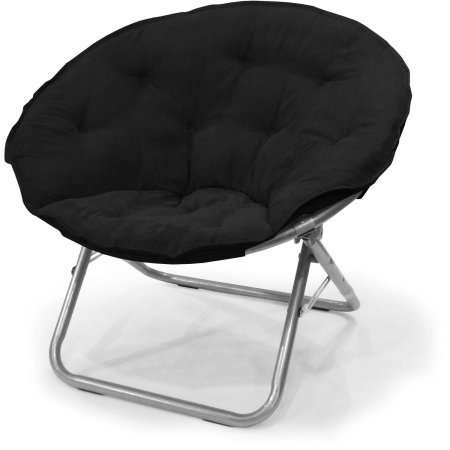 Mainstays Large Microsuede Saucer Chair | Easily Folds for Storing or Transporting (1, Black)
