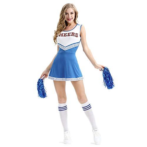 XS-XXL Sexy Baby Female Cheerleading Skirt Stage Dress Mini Skirt Halloween Women Cheerleading Costume (Blue,XL)]()