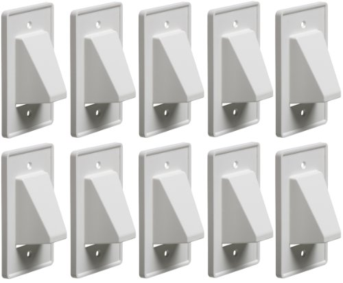 Arlington CE1-10 Recessed Low Voltage Cable Plate, 1-Gang, White, 10-Pack