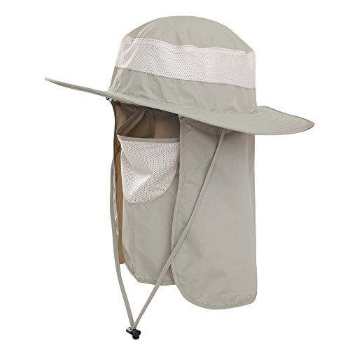 f7995e729da Mens Outdoor Sun Protection Wide Brim Bucket Sun Hat with Neck Face Flap
