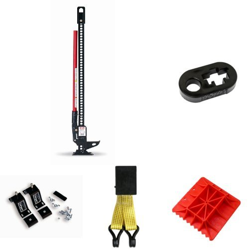 Hi-Lift Steel Jack with Handle Keeper, Off Road Base, Lift Mate, and Mounting System Bundle