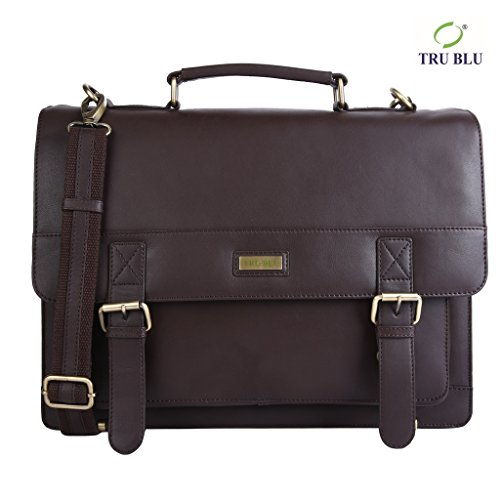 Blu Leather Bag - TRU BLU Men's Genuine Leather Portfolio Briefcase Bag For Office Use 29.5CM X 40 CM X 14CM SHOULDER HANDLE – 60CM Brown