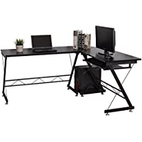 Tangkula L-Shaped Desk 3-Piece Corner Computer Desk PC Laptop Table Workstation Home Office Black