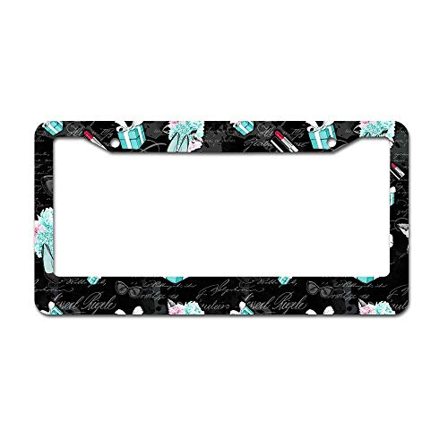 Fabri.YWL Abstract Audrey Hepburn Breakfast at Tiffanys Village Pattern License Plate Frame Aluminum Car License Plate Covers with 2 Holes 12