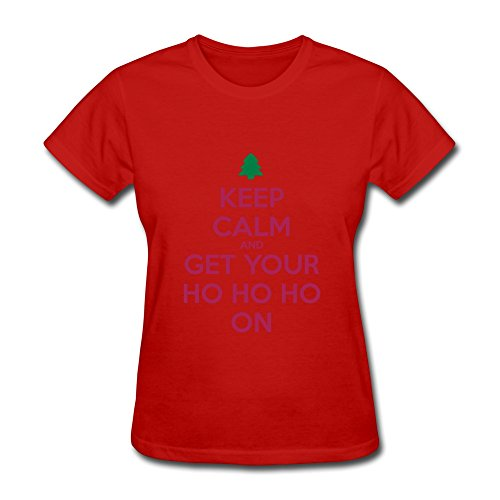 Christmas Keep Calm And Ho Ho Short Sleeve Women's T-Shirt Red Size XXL Artist By By Rahk -