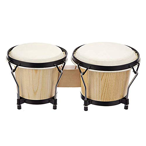 SHMYQQ Bongo Drums in Natural Finish Wooden Bongos for Beginners 6 and 7 Bongo Drum Set with Padded Bag and Tuning Key Natural Sending A Child As A Gift