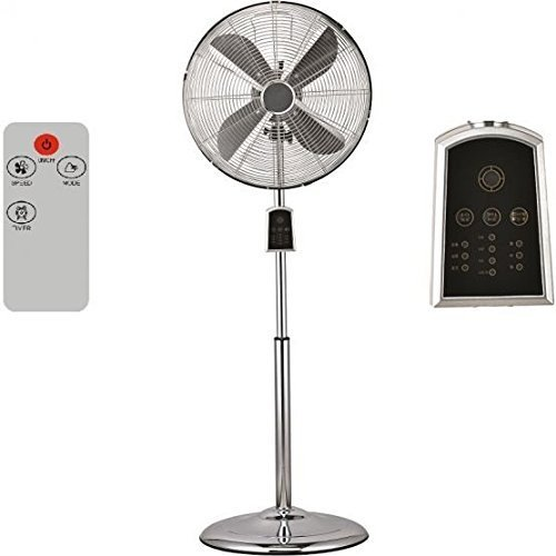 Syntrox Germany SVT-60W Chrom Retro Ventilator mit Fernbedienung, Timer und Oszillation Windmaschine Axialventilator Standventilator Lü fter Geblä se Klima-Chef SVT-60W