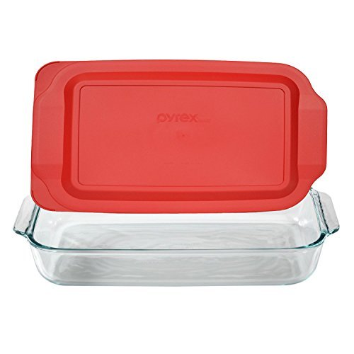 Pyrex Basics 3 Quart Glass Oblong Baking Dish with Red Plastic Lid -13.2 INCH x 8.9inch x 2 inch by Pyrex