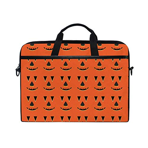 KEAKIA Halloween Pumpkin Faces Pattern Laptop Bag Shoulder Messenger Bag Simplicity Slim Briefcase Commuter Bag Case Business Sleeve Carrying Handle Bag for 14 inch to 15.6 inch Laptop Notebook -