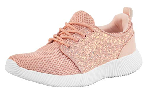 (ROXY-ROSE Glitter Sneakers Breathable Shoes Fashion Sneakers Casual Shoes for Women - Walking Shoes (6 B(M) US, Pink) …)