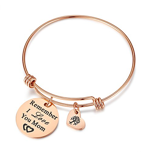 Studiocc Women Jewelry Remember I Love You Mom Adjustable Bangle Bracelets with Heart Tree of Life Charm, for Women, Mom, Grandmother from Daughter Son, Mom in Law Gifts (mom-Rose Gold)]()