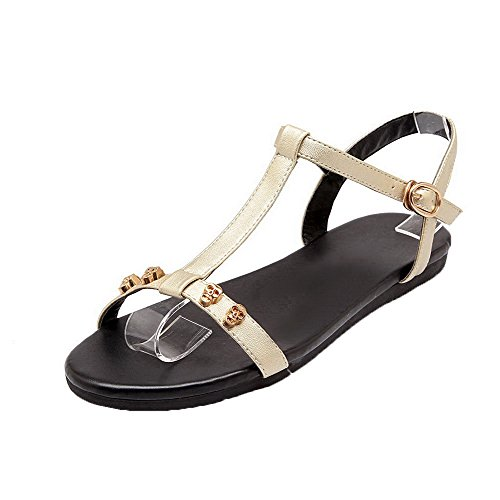 AalarDom Womens Buckle Open-Toe Low-Heels Patent Leather Solid Sandals Gold Bxah62Gvbt