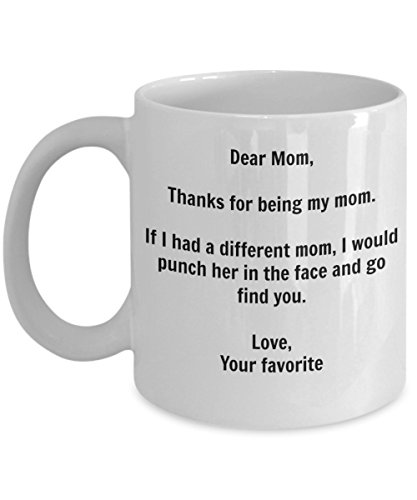 Funny Mom Gift   Id Punch Another Mom In The Face Coffee Mug   Gag Gift Cup From Your Favorite Child   Sticker