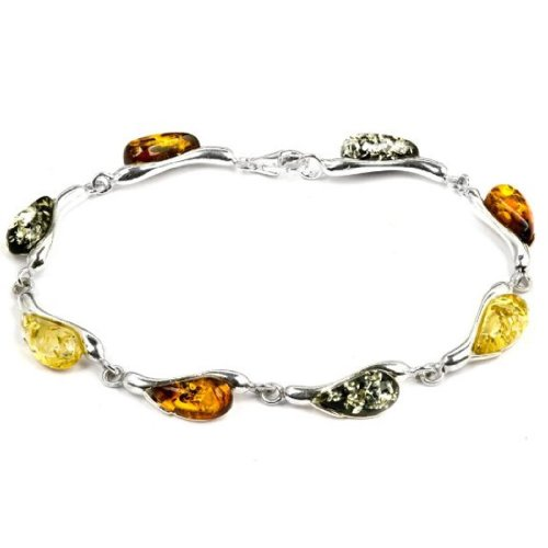 Sterling Silver Multicolor Amber Tear Drop Bracelet 7.5 Inches (Bug Insect Real Bracelet Amber)