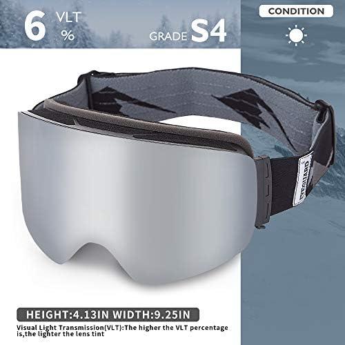EYEGUARD Ski Goggles for Men Women,Cylinder Frameless Wide View OTG Anti-Fog UV400 Snowboard Snow Goggles