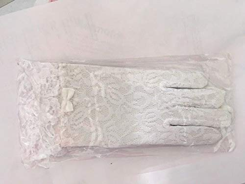 White Kids Communion Wedding Flower Girls Party Stretch Lace Gloves Ruffled #ID-235 ()