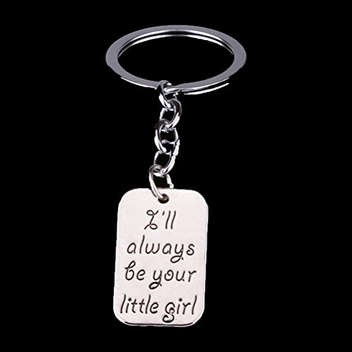 OULII Father's Day Gift Key Chain Ring I'll always be your little girl for Father's Gift
