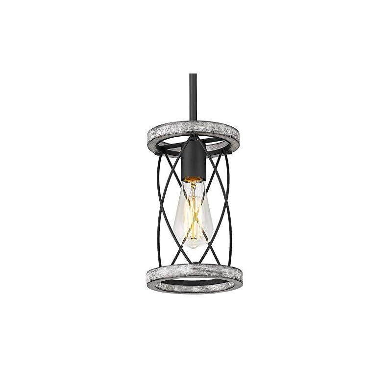 HANASS Farmhouse Pendant Light Fixtures, Mini Pendant Lighting for Kitchen Island in White Wood, Length Adjustable…