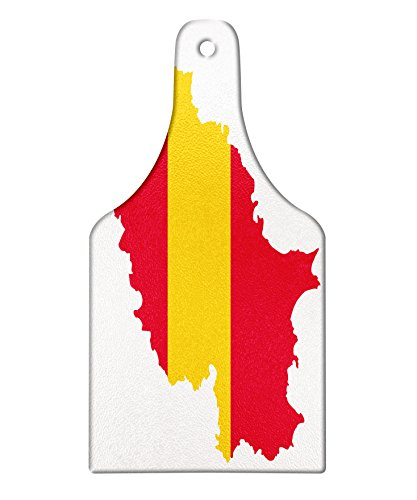 Lunarable Ibiza Cutting Board, Balearic Island Map with Spain Flag Pattern Exotic Ibiza Holiday Theme, Decorative Tempered Glass Cutting and Serving Board, Wine Bottle Shape, Yellow and Dark Coral by Lunarable