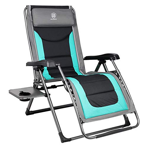 EVER ADVANCED Oversize XL Zero Gravity Recliner Padded Patio Lounger Chair with Adjustable Headrest Support 350lbs, Green ()