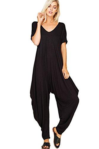 Annabelle Women's Plus Size Comfy Casual Short Sleeves Harem Long Pants Jumpsuits With Pockets 2X-Large Black J8051X