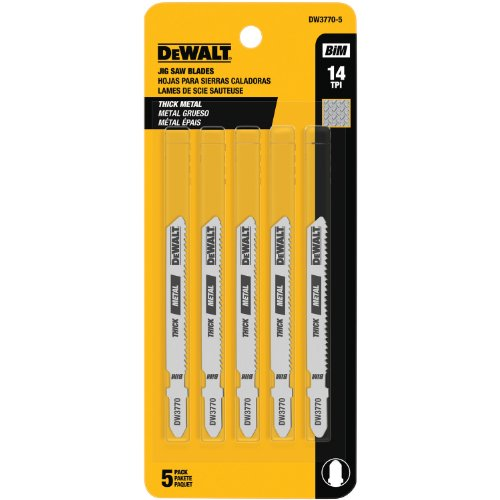 DEWALT DW3770-5 3-Inch 14 TPI Thick Metal Cut Cobalt Steel T-Shank Jig Saw Blade (5 Pack Jigsaw Blade)