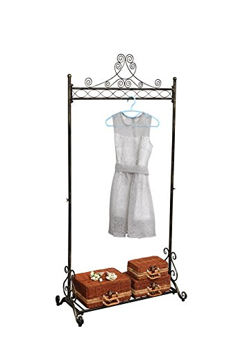 NEUN WELTEN Chic and Sturdy Garment Rack - Clothing Racks with Bottom Shelf for Shoes – Metal Hanging Clothes Stand (Bronze)