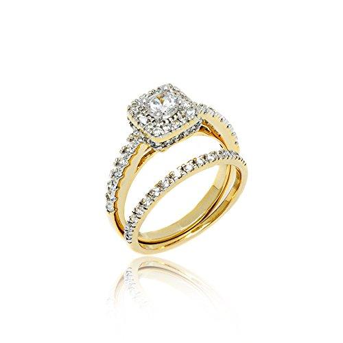 18K Gold Bridal Set Silver Princess Cut Cubic Zirconia Engagement Wedding Rings White Gold ()