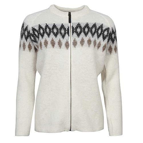 ICEWEAR Hildur Women's Icelandic Warm Wool Zip-Through Outdoor Sweater White