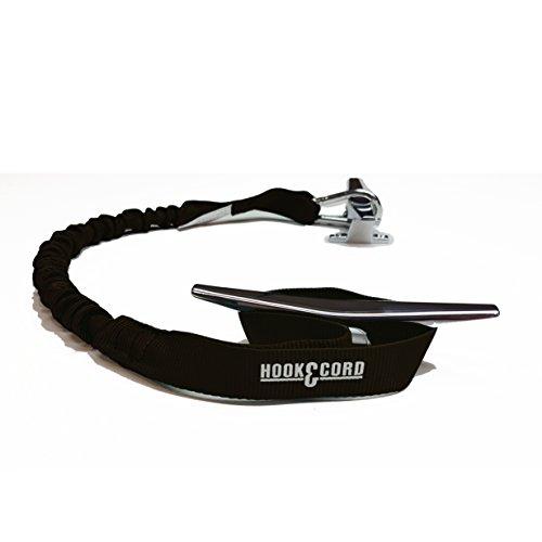 Hook and Cord Bungee Boating Dock Ties (Black, 30 with 1 Loop and 1 Hook)
