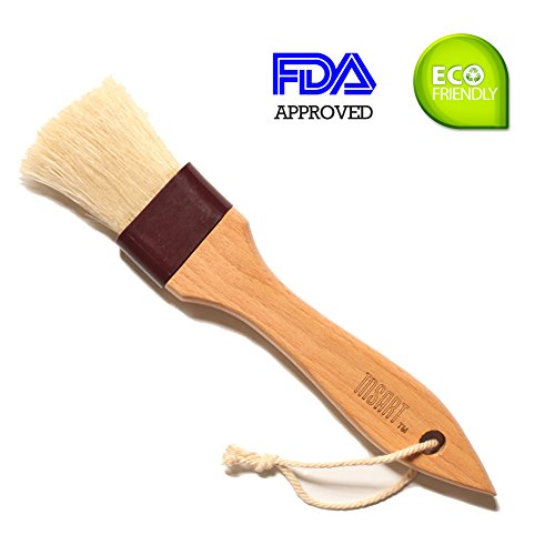 BBQ Basting Pastry Brush Natural Bristle Wooden - MSART Food Brush, with Beech Wood Handle and Rope Hook, Great for Butter, Cookies, Oil, Bread, Frosting. Easy to Clean, 1.5 inch. (Pineapple Brown Sugar Ham Glaze)
