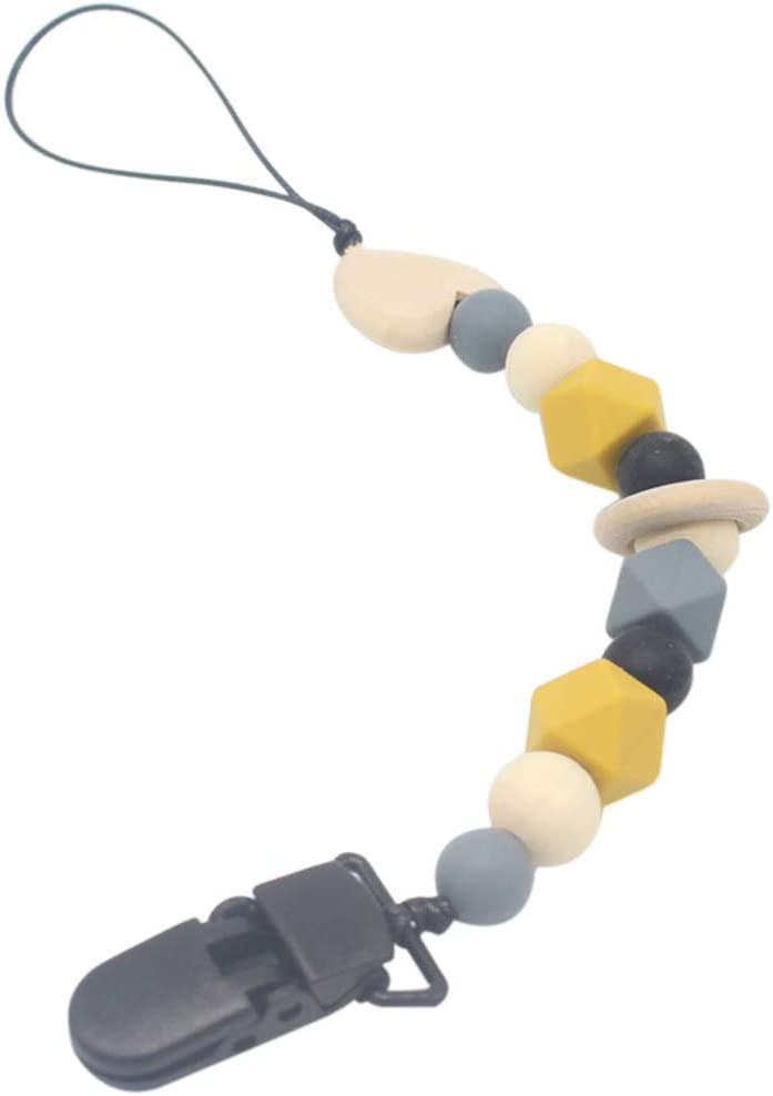 Freahap 2Pcs Pacifier Chain Silicone /& Wood Beads Teether Holder Pacifier Clip Baby Shower Gift for Babies White 2Pcs