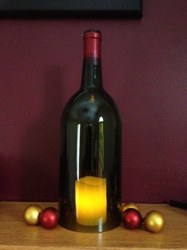 Green Hurricane Wine Bottle with LED Votive (Wine Bottle Hurricane)