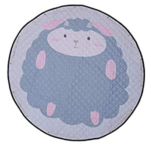 Large Baby Playmat, Toy Storage Bag with Drawstring, Kids Play Gym, Soft Children Crawling Blanket, Cotton Round Floor Carpet Mat, Nursery Room Decor, Lovely Sheep Animal Patterns, 150 cm Diameter