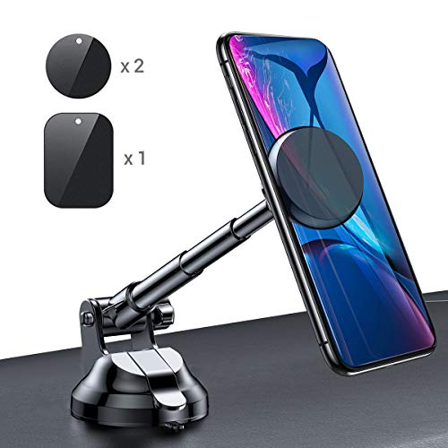(Magnetic Phone Car Mount, 6 Strong Magnets Phone Holder for Car Dashboard and Windshield, 360° Rotation & Metal Telescopic Arm, Hands-Free Car Phone Holder Compatible with 3''-7'' Phone, iPad(Ainope))